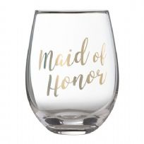 Gold ' Maid Of Honor' Stemless Wine Glass